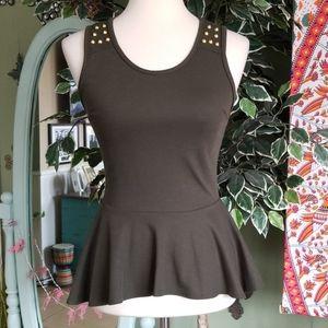 Maitai olive green sleeveless stud design top